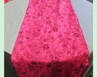 """Table Runner Taffeta Ribbon Sequin 983 3 Pcs. 18"""" X 108"""" Wedding Decor - Fuchsia"""