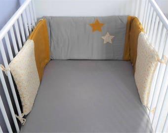 "Bumper ""stars"" yellow mustard and taupe, customizable"