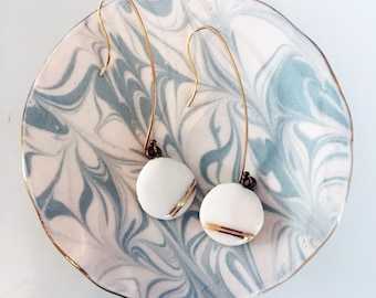 Porcelain Earrings, handpainted with Gold Luster