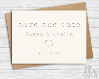 Save the Date Postcard, Typewriter Save the Date Vintage Postcard, Save the Date Sample Postcard