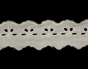 19yds Vintage Natural Broderie Anglaise Lace Trim 40mm Wide