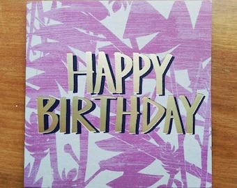 Happy Birthday Foil Blocked Greetings Card, Wild Flora Pink
