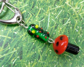 Caterpillar & Mushroom Key Chain - Cute lampwork green, red, and black glass beads on a clip with keyring -Free Shipping USA