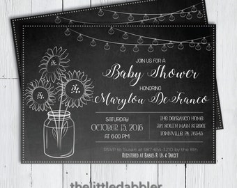 Printable Country Chalkboard Sunflower Baby Shower Invitation -- Mason Jar Summer Fall Baby Shower Sprinkle Sip and See -- PNG & JPG