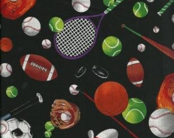 Shamash & Sons Quilting Cotton Fabric Black with Sports Items 130554 - 1/2 Yard