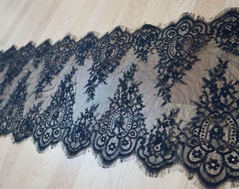 3 m * 36cm chantilly lace Black Lace fringe Ref. 1536
