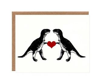 T-Rex in Love -- Funny Screenprinted Card