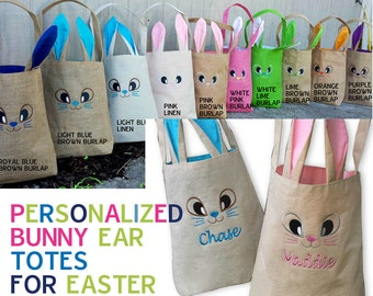 Personalized Easter Baskets for Toddlers Cute Easter Tote Canvas Bag Embroidered Name Easter Bunny Face Pink or Blue Liner For Boys Girls