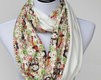 Frida Kahlo scarf, Frida infinity scarf, skulls scarf, reversible ivory white scarf, Amor scarf, loop scarf, gift for women and teen girls
