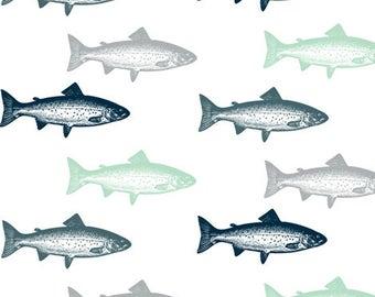 Fish Crib Sheet - Trout - Gray, Navy, Mint