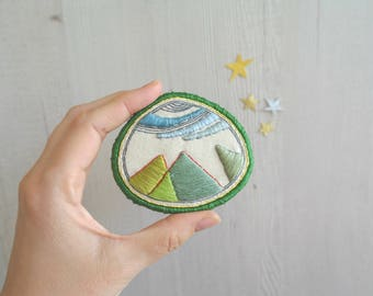 Big embroidered badge, fabric brooches, unique gift, textile brooch, modern art jewelry, unique brooch, fabric broaches, green brooch
