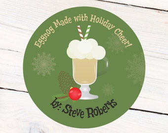 Holiday Eggnog Labels, Holiday Cheer Christmas Personalized Sticker - Christmas Labels