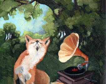 Fox with Phonograph - 8x8 print