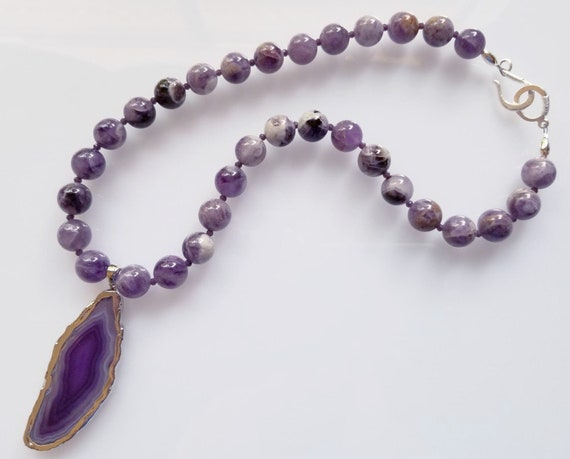 Banded Amethyst Necklace, Amethyst Necklace, Purple Necklace, Chunky Necklace, Pendant Necklace
