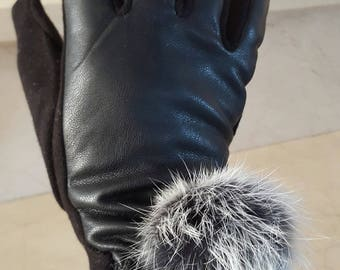 Faux leather and real fur one size gloves