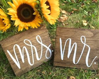 Mr. & Mrs. Hand Lettered Wood Signs // Modern Calligraphy