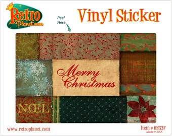 Merry Christmas Quilt Patches Vinyl Sticker - #68337