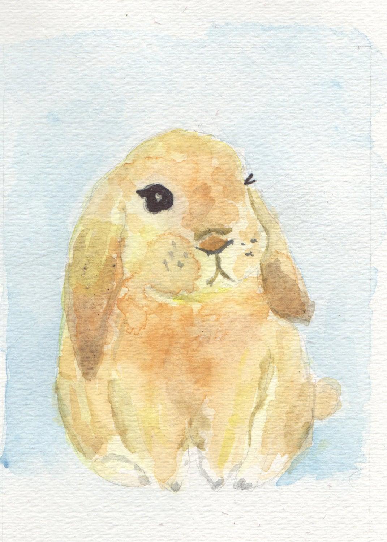 Watercolor painting bunny nursery wall art baby boy nursery