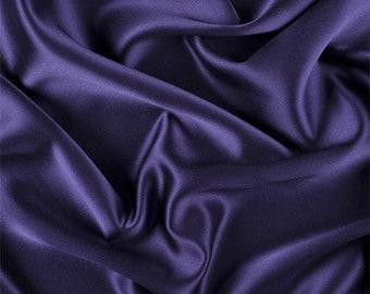 Dark Purple Silk Crepe Back Satin, Fabric By The Yard