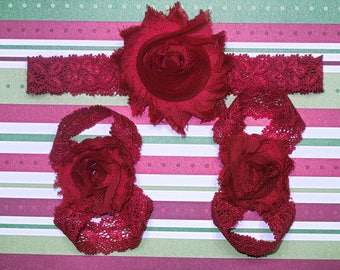 All Red Christmas barefoot sandals with headband