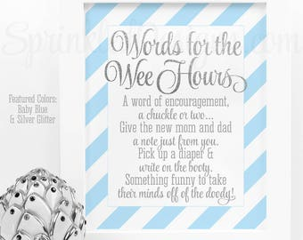 Baby Shower Games Words For The Wee Hours Words of Wisdom Late Night Diapers - Baby Blue Silver Glitter Printable Baby Boy Shower Game Ideas