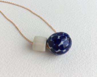 dots + facets // porcelain necklace