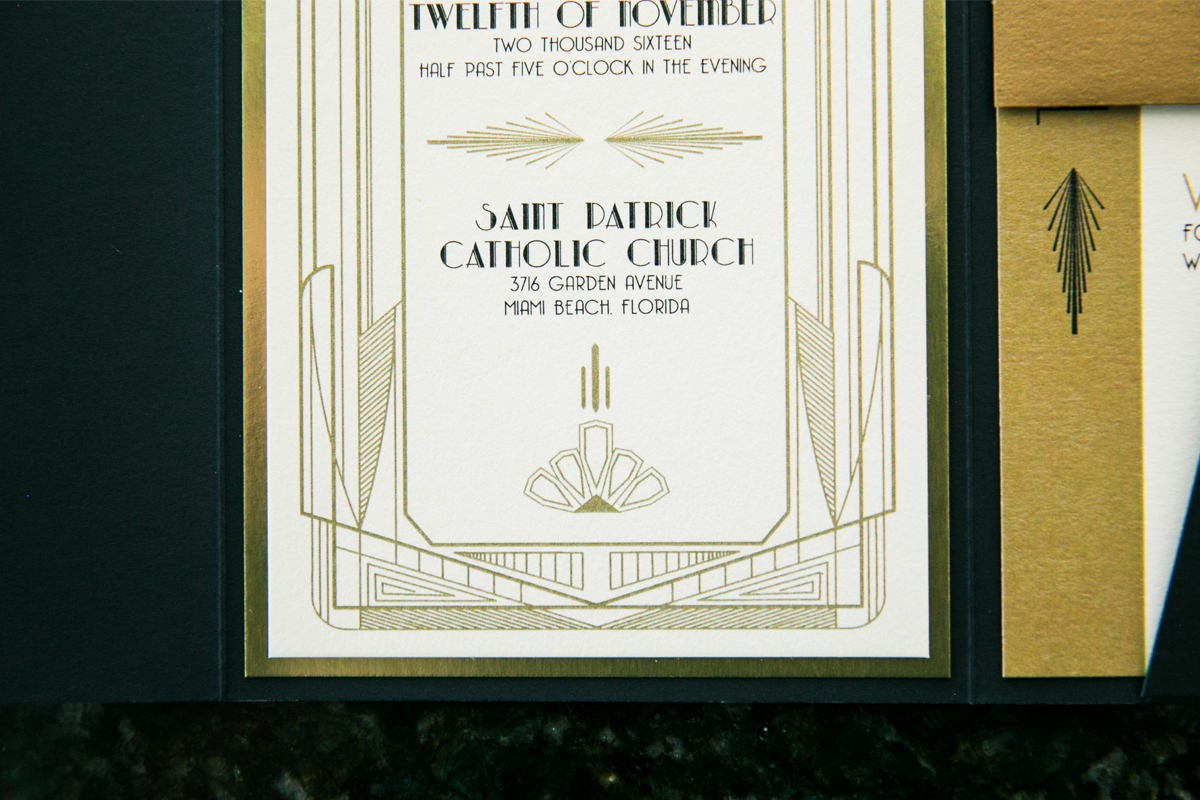 4x9 OR 5x7 Pocket Art Deco Great Gatsby Themed Gold and Black ...