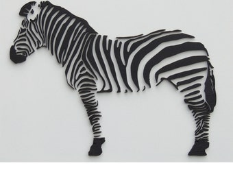 3d zebra, with laser carved wall decoration from wood
