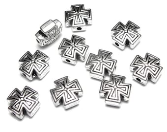 10 Cross Beads Antique Silver, Catholic Christian Jewelry Supply, Lot of 10