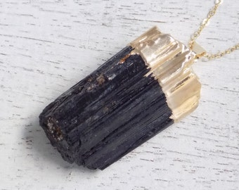 Gift For Her, Tourmaline Necklace, Black Tourmaline Necklace, Raw Tourmaline Necklace, Tourmaline Pendant, Gold Tourmaline, Layered, 10-525