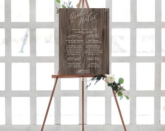 Rustic Wedding Party Sign, Watercolor Calligraphy Wedding Program Sign, Welcome Sign, Card Stock Print