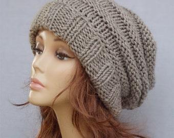 Slouchy beanie, wool knit beanie, beanies, beanie, Chunky knit beanie, Grey slouchy beanie, slouchy knit hat, slouch hat, knit beanie