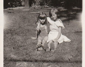 Original Vintage Photograph Snapshots Girls Friends or Sisters Sitting Outdoors 1930s