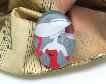 1 cabochon 25 mm glass oval Hat women grey and Red - 25 * 18 mm