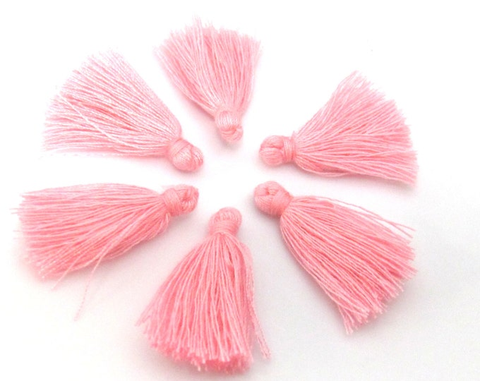 10 Pieces  - Small mini size pink color silky tassel charms tassle fringe mala supply 1 inch - TS014s
