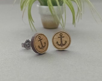 Anchor Earrings - Laser Engraved Alder Wood - Post Titanium Stud Earring - Sail Boat Nautical