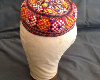 Vintage Embroidered Turkmenistani Prayer Hat