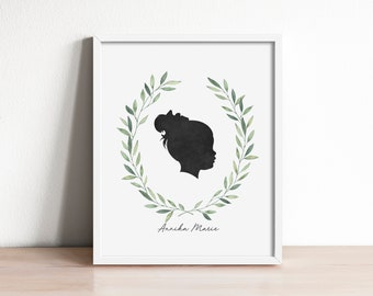 silhouette portrait, gift for mom, gift for dad, grandparents gift, custom family art, family keepsake, mothers day gift, personalized art