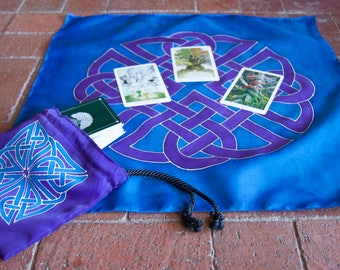 Celtic Knotwork Tarot Bag and Cloth Set in Purple and Blue