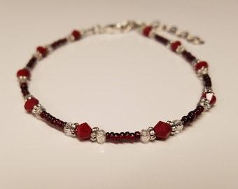 Red Czech Glass Beaded Ankle Bracelet, Adjustable, Womens Anklet, Red Anklet, Adjustable Anklet, Gift for Her, Gift under 15, Gift for Women