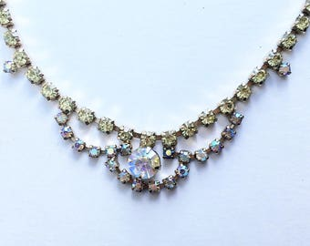 Vintage aurora borealis and pale green rhinestone necklace on hold tone
