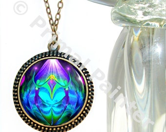 """Twin Flames Heart Necklace, Purple Teal Chakra Jewelry, Soulmate Love """"Unity"""""""