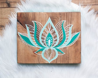 Lotus Wall Art- Lotus Painting- Wall Art- Yoga Art- Lotus- Home Decor- Wood Wall Art- Green Lotus- FREE SHIPPING