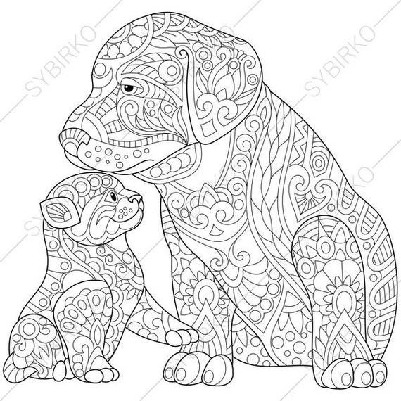 Labrador Puppy and Kitten. Coloring Page for Friendship day