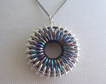 Silver and Rainbow Niobium Chainmail Sunburst Necklace, Sterling Silver Necklace, 16 inch Silver Chain, Chainmaille Necklace