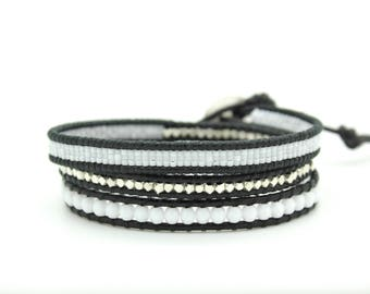 White Sectioned Wrap Bracelet on Black Leather