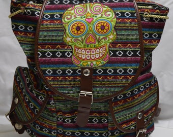 Day of the dead backpack, dia de los muertos backpack, multicolored backpack