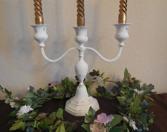 White Candelabra, Candle Holders, Holds 3 Candles, Distressed Shabby Chic Hand Painted