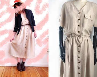 Vintage SILK Dress betty Barclay 90sbutton down short sleeve summer dress beuge sand natural style color an