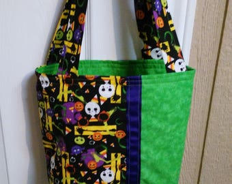 Halloween Themed Purse Tote Hand Bag with Purple Accent Ribbon